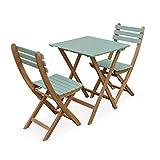 Alice's Garden Conjunto de jardín de Madera Bistro 60x60cm - Barcelona - Verde grisáceo, Mesa Plegable Bicolor con 2 sillas Plegables, Acacia