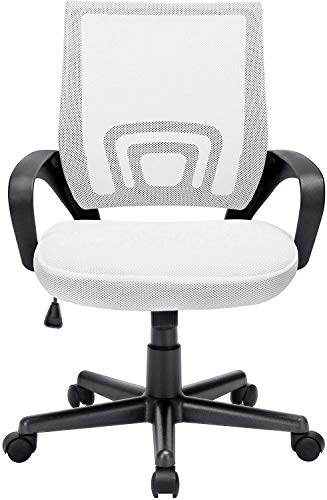 OFIKA Office Chair Ergonomic Desk Chair, Adjustable Task Chair for Lumbar Back Support, Mesh Mid Back Computer Chair with Rolling Swivel and Armrest, Modern Executive Home Office Desk Chairs (White)