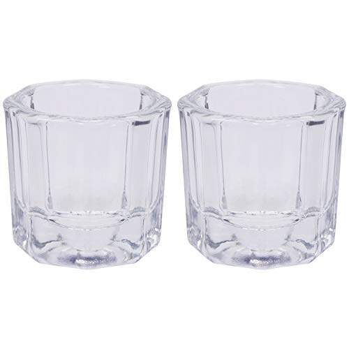 Shapenty Nail Art Acrylic Liquid Powder Dappen Dish Glass Crystal Cup Containers Glassware Tools for Nail Polish Remover Eyebrow Tint and Eyebrow Dye Mixing, 2PCS