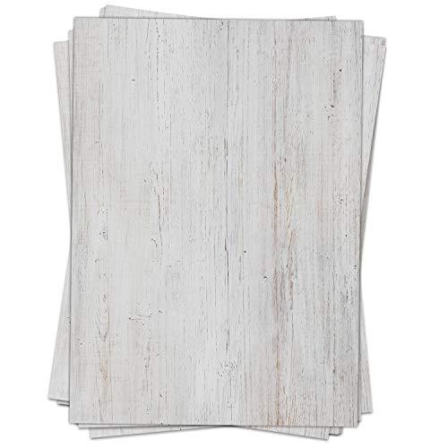 Briefpapier Motiv HOLZ-LOOK WEISS Vintage, shabby chic - 50 Blatt, DIN A4 Format - Papier beidseitig bedruckt