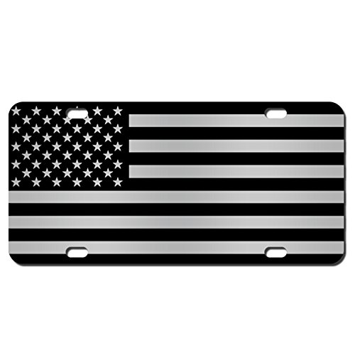 JASS GRAPHIX American Flag License Plate Matte Black on 1/8 Brushed Aluminum Composite Heavy Duty Tactical Patriot USA Car Tag (Black on Brushed)