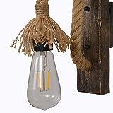 Vintage Creative Wood Wandlampe, Rustikal Kreative Hanfseil E27 Wandleuchten Für Wohnzimmer Korridor Restaurant Bar Cafe,2 PACK - 6