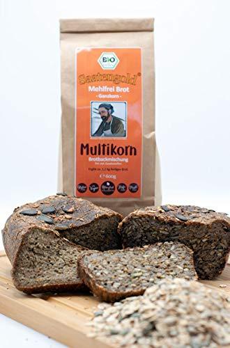 Saatengold 'Mehlfreibrot' -Ganzkorn- Brotbackmischung | Bio, ohne Mehl, Hefe etc. | Rezeptur & Idee Bäckermeister Hermann Stein | (Multikorn 600g)
