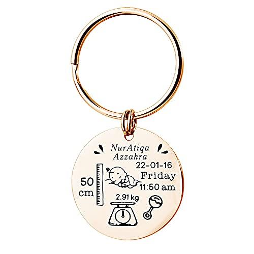 gepersonaliseerde sleutelhanger aangepaste baby geboortekaartje sleutelhanger gravure naam/geboortedatum/hoogte/gewicht babystatistieken sleutelhanger nieuwe moeder/nieuwe vader cadeau