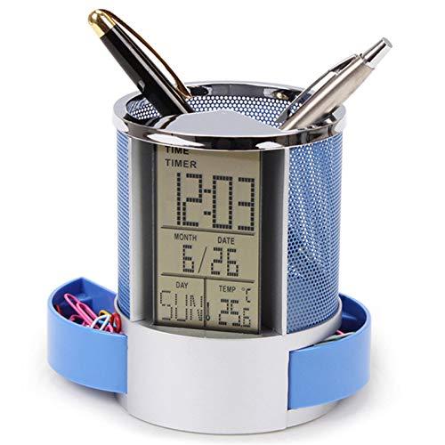 Cikuso Soporte Para Lápices De Pluma De Malla Con Reloj De Escritorio De Oficina Con Pantalla Lcd Digital Y Función De Calendario Con Temporizador Azul