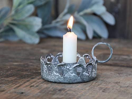Chic Antique Kammerleuchter Kerzenständer Antik Grau Kerzenhalter antik m.Herzen Ø11cm