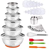 Mixing Bowls with Lid Set, 35PCS Kitchen Utensils Stainless Steel Nesting Bowls, Measuring Cups and Spoons, 12 Reusable Silicone Stretch Lids Non-slip Mat Egg Whisk for Baking Prepping Cooking Serving