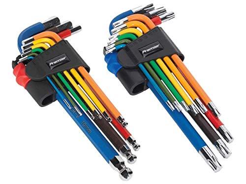 Sealey TWIN PACK Long Ball-End Allen Hex Key & TX TRX Star Set Multi-coloured AK7190 & AK7193