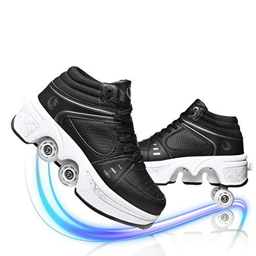 JYHGX Patines De Ruedas Patines Cuádruples Ajustables De Rueda Deformable De Doble Fila 2 En 1 Zapatos De Polea Invisible Multifuncionales para Adultos Y Niños