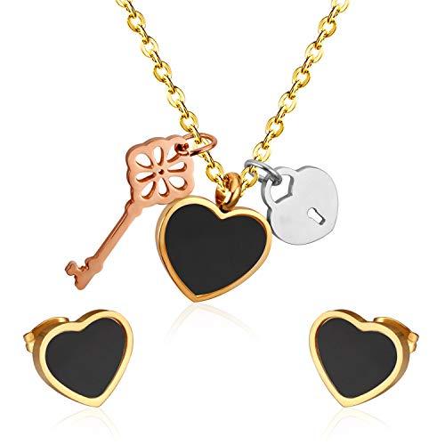 HMANE Conjuntos de joyería Africana de Dubai de Boda de Concha de Acero Inoxidable, Collar con Colgante de Llave de corazón, Pendientes para Mujer, Conjunto de Joyas