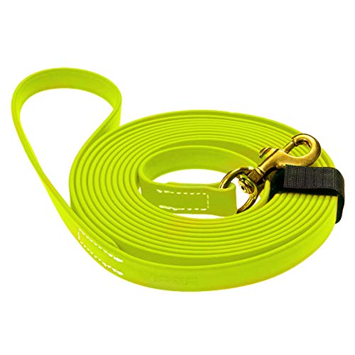 Viper K9 Biothane Working Dog Leash Waterproof Lead for Tracking Training Schutzhund Dog Sport & Search - Odor-Proof Long Line with Solid Brass Snap for Puppy Medium and Large 5/8' x 20ft Neon Yellow