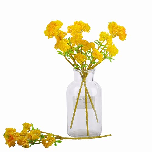 Kesio Künstlicher Blumenkohl-Brokkoli, 35,6 cm, Polyethylen, Sukkulenten, für den Außenbereich, für Zuhause, Hochzeit, Büro, Party, Dekoration, Gelb, 5 Stück