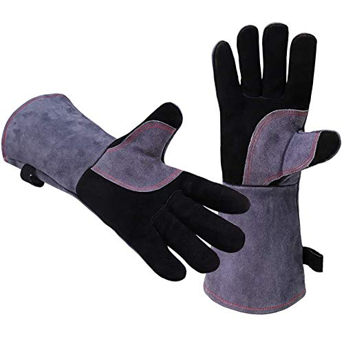 Leather BBQ Gloves, Extreme Heat Resistant Oven Mitts to 932 °F, Long Sleeve Welding Gloves for Fireplace Tig Mig Welder Forge Wood Stove Grilling Barbecue Pot Holder Kitchen Cooking