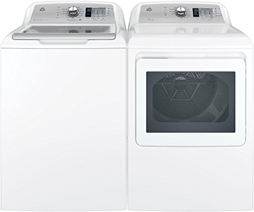 "GE Top Load Speed Wash GTW685BSLWS 27"" Washer with Front Load GTD65EBSJWS 27"" Electric Dryer Laundry Pair in White"