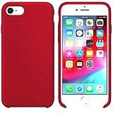 Funda de Silicona Silicone Case para iPhone SE 2020, iPhone 7, iPhone 8, Tacto Sedoso Suave, Carcasa Anti Golpes, Bumper, Forro de Microfibra (Rojo Persa)