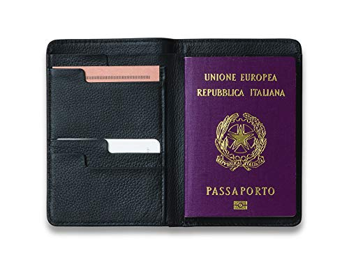Moleskine Lineage - Porta pasaporte en piel, color negro