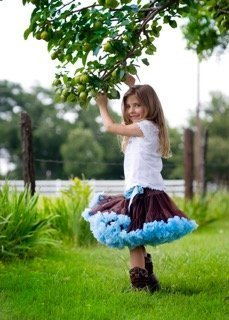 Oopsy Daisy Baby Brown with Blue Ruffles Pettiskirt 12m
