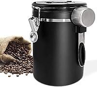 delgeo barattolo caffè ermetico,contenitore in acciaio inox-barattolo caffè coffee vault per conservare il caffè fresco in chicchi o macinato (1.5l),regolabile-cucchiaio gratuito(nero(black))