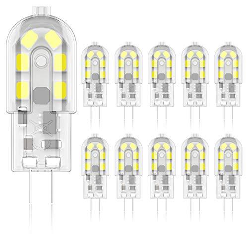 Phoenix-G4 LED Lampen, Birnen 2W 200lm 12V AC/DC Kaltweiß 6500K,Leuchtmittel Stiftsockellampe Glühbirne Ersatz 20W Halogenlampen, Kein Flackern Nicht Dimmbar -10 Pack