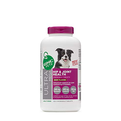 GNC Pets Ultra Mega Hip & Joint Health Chewable Tablets Dog Supplement, 120 Count - Beef Flavor | Advanced Support for Joint Cushioning & Mobility | Healthy and Natural Pet Supplements