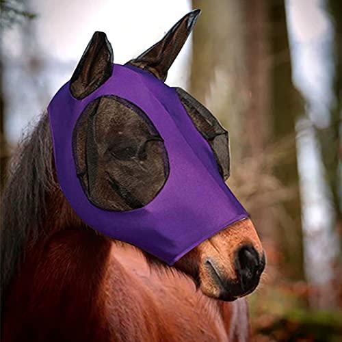 AIEX Máscara De Mosca De Caballo Máscara De Caballo Con Ojos y Orejas De Malla Tela Transpirable Máscara De Mosca De Caballo Suave y Elástica Con Protección Uv (Púrpura)