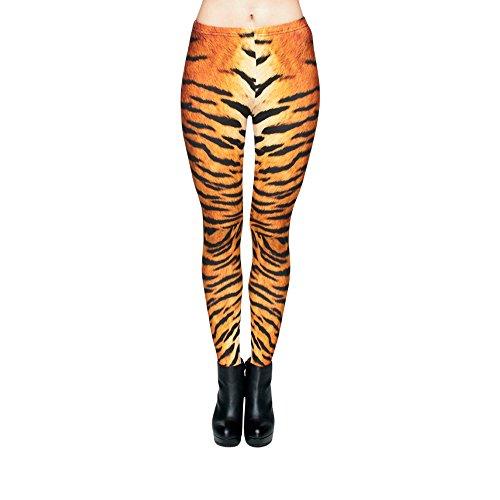 Hanessa Frauen Leggins Bedruckte Leggings Hose Frühling Sommer Kleidung Tiger-Fell L105