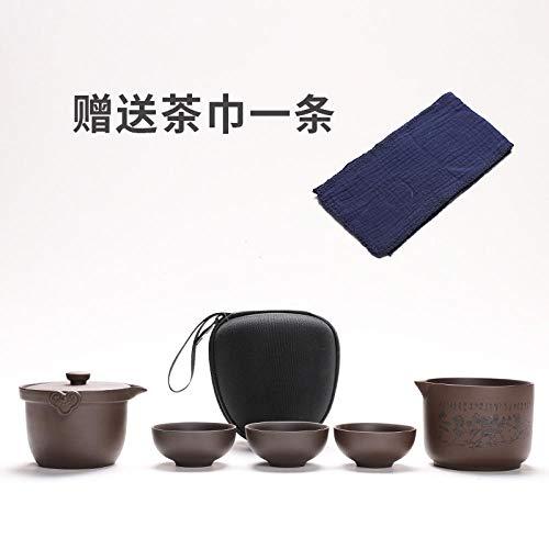 Bolsa portátil de viaje de arena púrpura juego de té juego de...