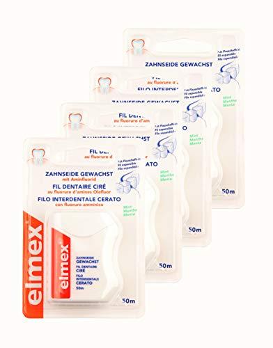 4x ELMEX Zahnseide gewachst mit Aminfluorid 50m Minze Mint