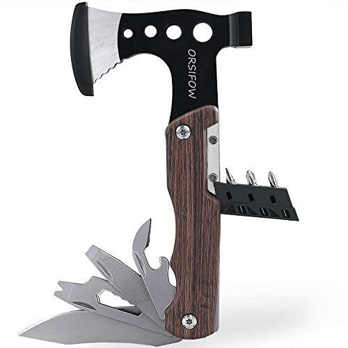 ORSIFOW Multitool Hatchet Edelstahl Multifunktionswerkzeug mit Hammer, Messer, Schraubendreher, Flaschenöffner, Taschenwerkzeug für Camping Wander Notfall im Freien, Geschenke für Mann