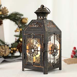 JHY DESIGN Linterna Decorativa de diseño JHY Linterna de Vela de Metal de 23 cm de Altura Linterna Colgante de Estilo Vintage para Fiestas de Bodas Interior al Aire Libre (Negro con Cepillo de Oro)