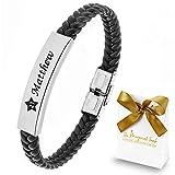 TMT Personalisiertes Leder Armband mit Gravur | braun schwarz| mit namen für Männer und Jungs Geschenk für Ihn | Jahrestag Valentinstag Geburtstag Glücksbringer
