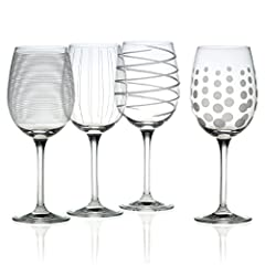 The fun and whimsical designs of the Mikasa Cheers collection set a festive mood at any gathering No need for wine charms, the dots, lines, and swirls are distinctive, each of your guests can easily identify their glass Set includes 4 tulip white win...