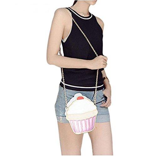 Yesiidor Umhängetasche Damen Taschen Kuchen Eiscreme Pattern Umhänge Shopper Handtasche