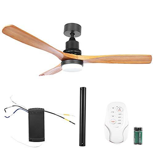 Ventilador de techo con aspas de 52 pulgadas, luz LED con control remoto para sala de estar en casa, negro