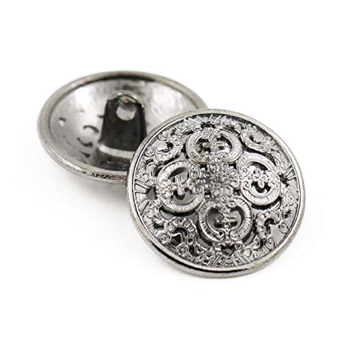 5 stks metalen knop voor kleding decoratieve gouden knoppen ronde hol gesneden knoppen naaien scrapbooking ambachten diy blazer truien, zwart, 19mm