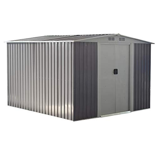 Goplus Galvanized Steel Outdoor Storage Shed 8.5X 8.5Ft Heavy Duty Tool House W/Sliding Door for Garden Lawn (Gray)