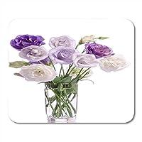 ノートブック、デスクトップコンピューター、マウスマット、オフィス用品のガラスマウスパッド通気して傷を防ぐで紫と白のトルコギキョウの花のマウスパッド通気して傷を防ぐの束