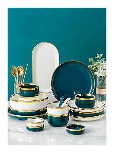 De vajilla de China vajilla cerámica Placas de Phnom Penh y Conjuntos Cuencos de los restaurantes y los regalos de boda de estilo europeo de cena de China Set ( Color : Green , Size : 4 people b )