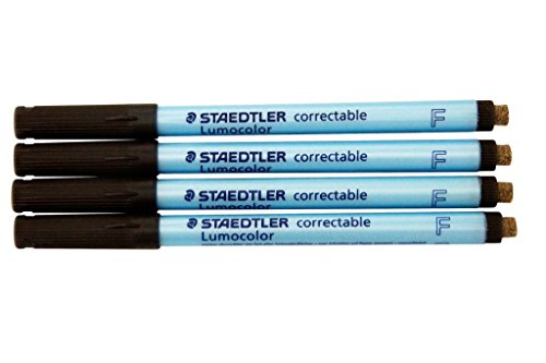 Lumocolor Correctable Pen Fine Point Black Set of Four