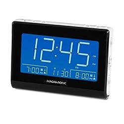 Magnasonic Alarm Clock Radio with USB Charging for Smartphones & Tablets, Auto Dimming, Dual Gradual Wake Alarm, Battery Backup, Auto Time Set, Large 4.8 LED Display, AM/FM (CR63W)