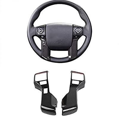 JeCar 4Runner Steering Wheel Decoration Trims Cover Kits 4Runner Accessories ABS Interior Exterior Cover for Toyota 4Runner 2010 2011 2012 2013 2014 2015 2016 2017 2018 2019 Carbon Fiber Pattern