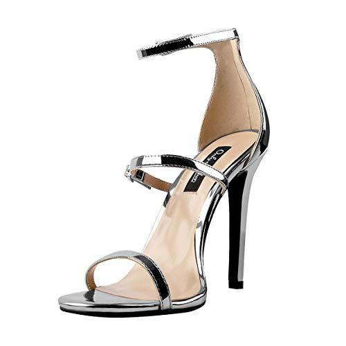 Only maker Damen Riemchensandalen Sandaletten High Heels Stiletto Absatz Sandalen Schnalle Silber 44 EU