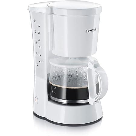 SEVERIN Cafetière Filtre, 800W, 1,4L, Jusqu'à 10 tasses, Système anti-goutte, Porte-filtre amovible, Plaque chauffante,Blanc,KA 4478