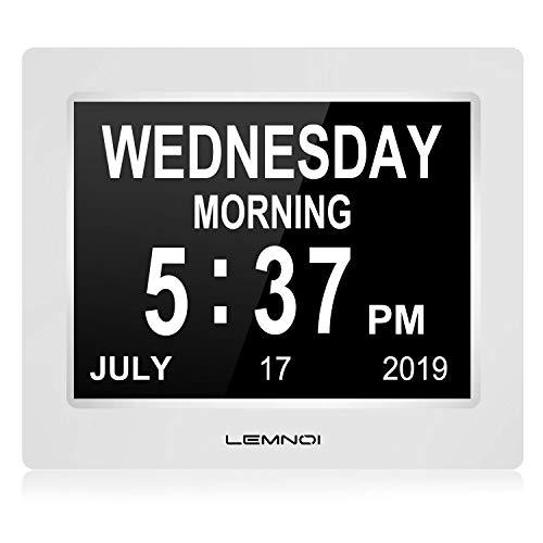 Lemnoi - Reloj Digital con Calendario, Pantalla LCD de 7,5 Pulgadas, con Fecha, día y Hora, no abreviado, con 8 Idiomas, HD, Pantalla para Alzheimer a Personas Mayores y niños