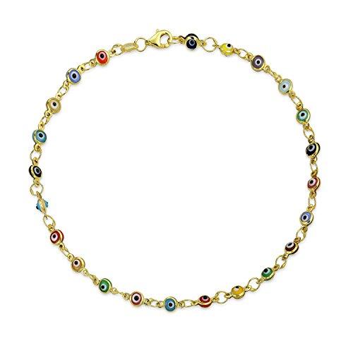 Türkische Böse Augen Mehrfarbig Fußkettchen Kettenglied Armband Für Damen 14 K Vergoldet 925 Silber 10 Zoll