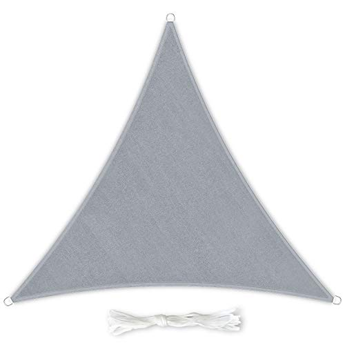 Premium Sonnensegel Dreieckig 3x3x3m hellgrau inkl. Befestigungsseilen aus wetterbeständingen HDPE | Sonnenschutz Schattenspender Garten Balkon Camping & Terrasse - UV Schutz Wetterschutz
