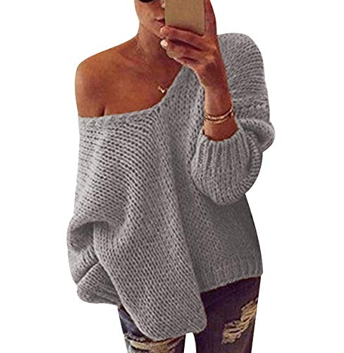 Jersey Punto V Mujer Hombros Descubiertos Oversize Sueter Mujer Suéter Largo Jerséis Jerseys Gruesos Mujeres Sueteres Mujer Manga Larga Invierno Largo Suéters Tallas Grandes Ancho Holgado Gris M