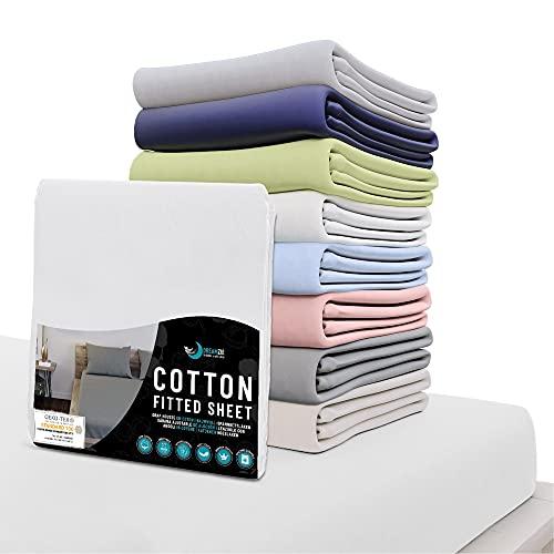 Dreamzie - Spannbettlaken 180x200 cm - 100% Jersey Baumwolle 150gsm Zertifiziert Oeko-TEX® - Weiß - Für Matratzen 180 x 200 x 27 cm
