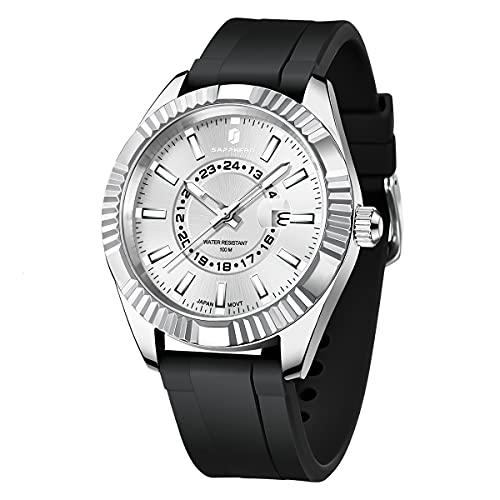 SAPPHERO Relojes para Hombres 100M Impermeable Minimalista Reloj analógico para Hombres de Pulsera de Vestir clásicos para Hombres Relojes Deportivos para Hombres de Negocios con...