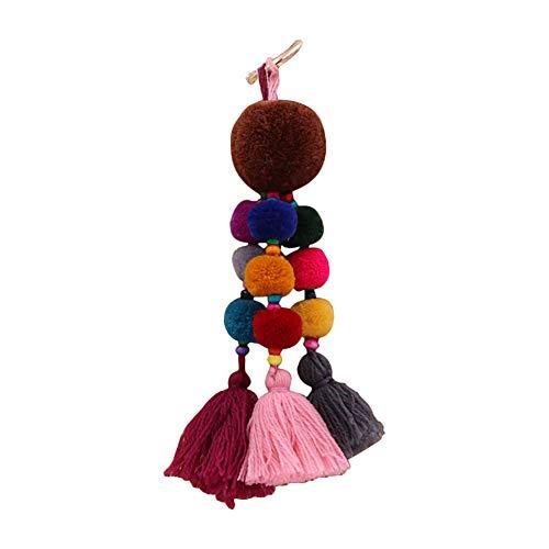 Wimagic 1 llavero de cachemira con borla de peluche colorido, colgante de bola de peluche, llavero, adornos de regalo para mujer, bolso de mano, decoración de coche 8*20cm marrón